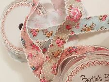 Berties Bows Vintage Style Floral and Polka Dot Ribbon Ivory Lace Edge25mm width
