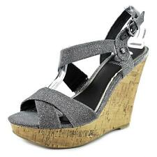 G By Guess Elsie Women  Open Toe Canvas  Wedge Sandal NWOB