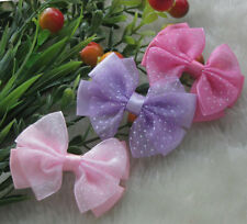 20pcs Organza Ribbon Flowers Bows w/Dots Wedding/Appliques/Craft