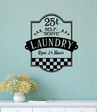 Self Serve Laundry Vinyl Decal Wall Sticker Words Lettering Laundry Room Decor