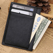 Men's Popular Leather Wallet Slim Money Clip Business ID Credit Card Holder