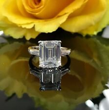 6.00ctw. Emerald Cut with baguettes  Engagement Wedding Ring 14k White Gold