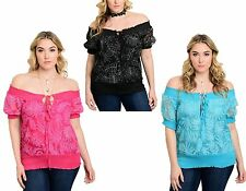 WOMENS LADIES FLORAL OFF THE SHOULDER GYPSY SUMMER TOP SIZE 16 - 22