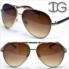 Aviator Sunglasses Designer Mens Womens100% UV400 IG Eyewear Gold Brown IG9042M