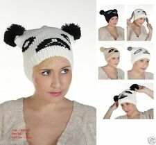 Unisex ladies mens Adults Animal Face Bear Panda Beanie Hat Knitted Hats