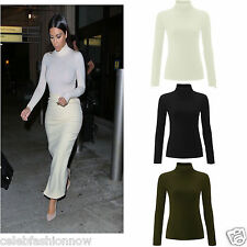 Ladies Women Ribbed  Polo Neck Turtle Roll Top Jumper Long Sleeve Plain Shirt
