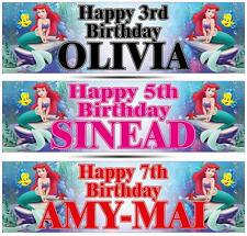 "2 PERSONALISED LITTLE MERMAID BIRTHDAY BANNER 36 ""x 11"" - ANY NAME, ANY AGE"