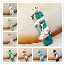 Gorgeous Silver Plated Dragon Wrapped Mixed Gemstone Column Pendant Bead XLZ-593