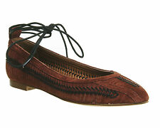 Womens Office Double Trouble Pointed Weave Lace Up Pump TAN SUEDE Flats
