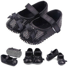 Toddler Baby Girls Bling Sequin Shoes Infant Bow Prewalker Crib Shoes 0-12M Hot