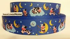 Grosgrain Ribbon, Nursery Rhyme The Cow Jumped Over the Moon, Clouds Stars, 7/8""