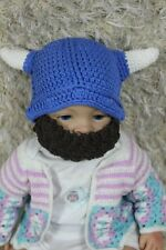 New Handmade Vikings Hat Blue Full Beard Hat Knit Crochet Hat Newborn Baby Hat