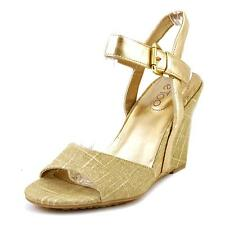Me Too Lucie12 Women  Open Toe Canvas Gold Wedge Heel
