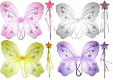 NEW Girls Ladies Butterfly Fairy Wings and Wand Set Pink White Purple Yellow