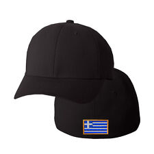 GREECE FLAG Embroidery Embroidered Black Cotton Flexfit Hat Cap