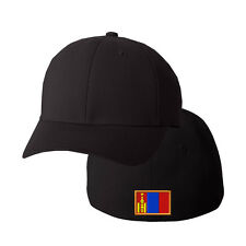 MONGOLIA FLAG Embroidery Embroidered Black Cotton Flexfit Hat Cap