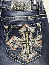 New Miss Me Jeans DK 430 Embroidery Crystal Cross Boot Cut 25 26 27 28 29 30 31