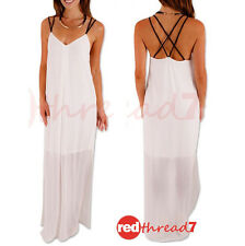 Summer Maxi Dress White Spaghetti Straps Sheer Chiffon Split Lined Long Boutique