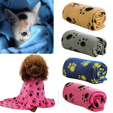 60*70CM Cozy Cute Pet Paw Print Pet Cat Dog Fleece Soft Blanket Mat Cover New