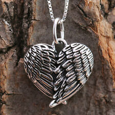 Sterling Silver Embraced Angel Wings Love Heart Pendant Chain Necklace Antiqued