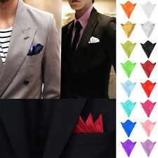 Men's Pocket Square Hanky Handkerchief Plain Solid Color Wedding Formal Party