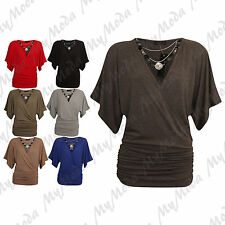 Ladies Women's Wrap Over V Neck Stretchy Batwing Top & Necklace Plus Size 16-26