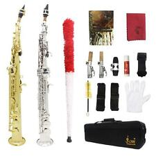 LADE Soprano Saxophone SAX Bb Brass Lacquered Gold Body and Keys with Case C3R1