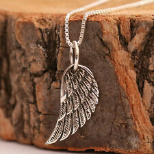 925 Sterling Silver Antiqued Angel Wing Feathers Pendant Chain Necklace With Box