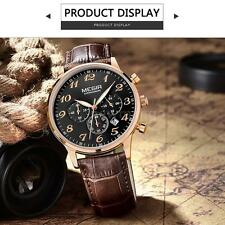 NEW Luxury Business Mens Watches Genuine Leather Waterproof Quartz Watch A7Q9