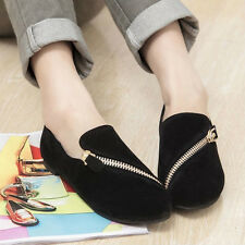 Womens Suede Leather Shoes Flats Slip-On Classic Boat Comfy Round Toe Ballets