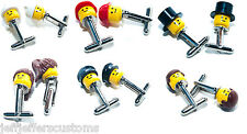 CHOOSE YOUR PAIR - GENUINE LEGO MINI FIGURE HEAD CUFFLINKS Funky & Cool Gift Set