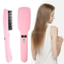 2 in 1 Hair Straightener Electric Ionic Hair Straightening Comb LED Set F4R1