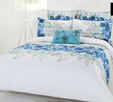 Naya Blue White 3 or 5 Pce Queen Size Quilt / Doona Cover Set Cotton Floral New