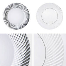 """Plastic 7"""" ROUND PLATES with Twirl Party Wedding Disposable TABLEWARE"""