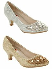 GIRLS GLITTER DIAMANTE BRIDESMAID PARTY WEDDING LOW HEEL SHOES UK SIZE 10-2