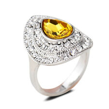 18K White Gold Plated Yellow Crystal Women Ring Elegant Jewelry CZ Rhinestone