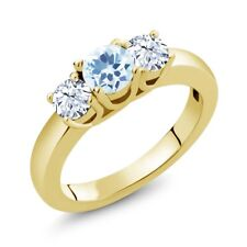 1.16 Ct Round Sky Blue Topaz White Topaz 18K Yellow Gold Plated Silver Ring