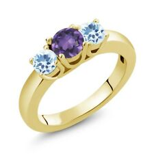 4.66 Ct Round Purple Amethyst Sky Blue Topaz 18K Yellow Gold Plated Silver Ring