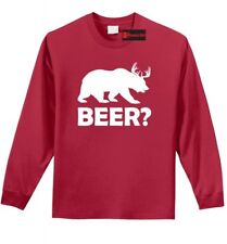 Beer Deer Bear Funny Long Sleeve T Shirt Hunting Guns Beer Party Tee Shirt Z1