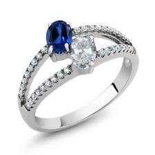1.41 Ct Blue Simulated Sapphire White Topaz Two Stone 925 Sterling Silver Ring