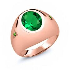 4.08 Ct Emerald Green Simulated Tsavorite 18K Rose Gold Plated Silver Men's Ring