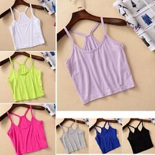 BD Fashion Womens Girls Y Shape Strap Tank Top Vest Camisole Crop T-Shirt