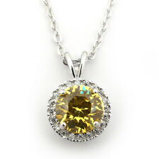 Rhodium Plated Sterling Silver Simulated Citrine & CZ 8mm Halo Necklace