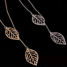 Gold/Silver Family Double Leaf Cute Chain Crystal Necklace Charm Pendant CSD