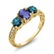 1.87 Ct Checkerboard Blue Iolite Blue Diamond 18K Yellow Gold Plated Silver Ring