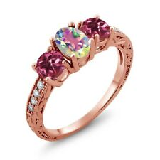 1.92 Ct Mystic Topaz and Pink Tourmaline 18K Rose Gold Plated Silver Ring
