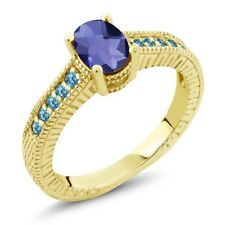 1.15 Ct Checkerboard Blue Iolite & Blue Topaz 18K Yellow Gold Plated Silver Ring