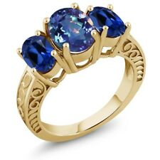 3.60 Ct Mystic Quartz Simulated Sapphire 18K Yellow Gold Plated Silver Ring