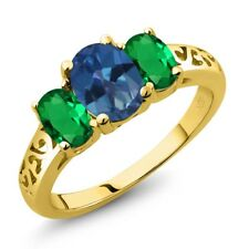 2.10 Ct Mystic Topaz Simulated Emerald 18K Yellow Gold Plated Silver Ring