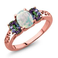 2.05 Ct Cabochon White Opal Green Mystic Topaz 18K Rose Gold Plated Silver Ring